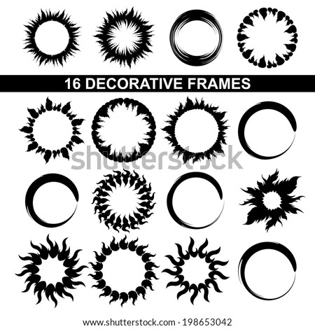 set of black and white decorative frames - stock vector