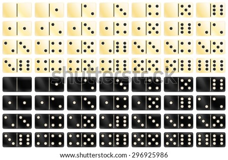 Set of black and white domino games - stock vector