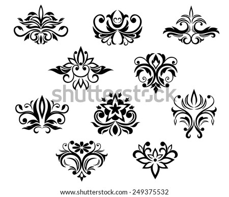 Set of black and white floral elements with a flowing design for ornament, pattern or wallpaper design - stock vector