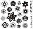 Set of black and white flower symbols and ornaments - stock vector