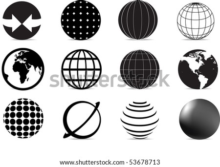 set of black and white globe icons and symbols