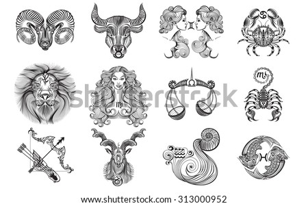 Set of black and white graphic signs of the Zodiac - stock vector