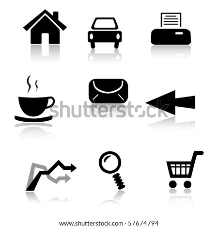 Set of 9 black and white icons - stock vector