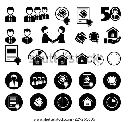 set of black and white icons for info-graphic - stock vector