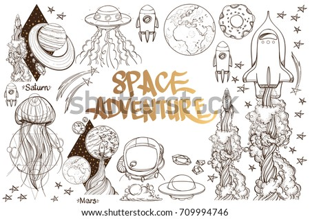 Set of black and white illustration on space theme. Space ship, planet, jellyfish.