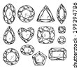 Set of black and white jewels. Hand drawn gemstones. Sketch style illustration. - stock photo