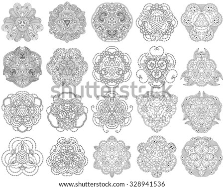 Set of 20 black and white mandalas on a white background. Vector illustration. - stock vector