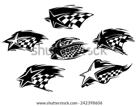 Set of black and white racing motor sport and Off Road icons with checkered flags and stars with speed motion trails, one with the words Off Road - stock vector