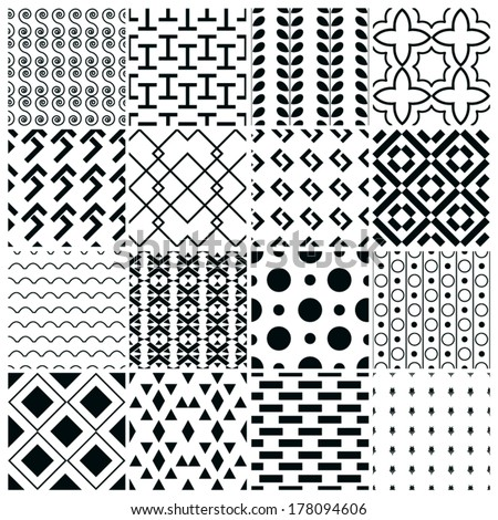 Set of black and white seamless geometric pattern - stock vector