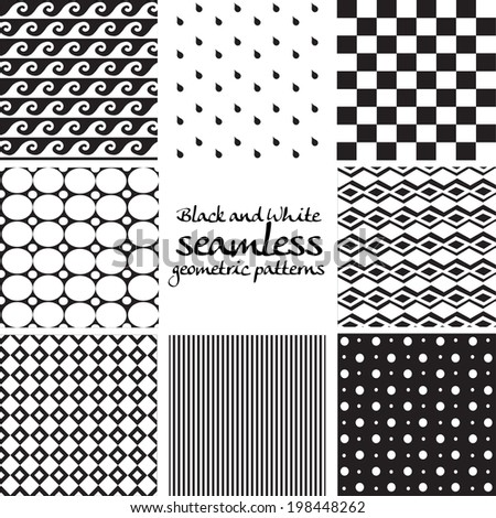 Set of black and white seamless geometric patterns 3 - stock vector