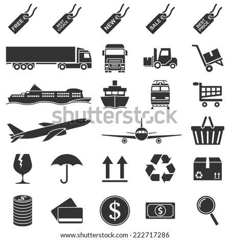 set of black and white silhouette icons o e-commerce, sale, delivery theme - stock vector