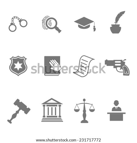 Set of black and white silhouette justice and police icons with a badge  handcuffs  court  judge  gavel  lawyer  gun  mortarboard hat  law book   scales   and an investigation - stock vector
