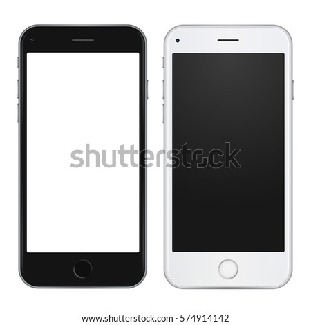 Set of black and white smart phone with empty blank screen to present your app, design. Vector illustration.