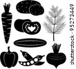 Set of black-and-white vegetables - stock vector