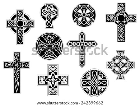 Set of black and white vintage decorative Celtic crosses, for religious design - stock vector