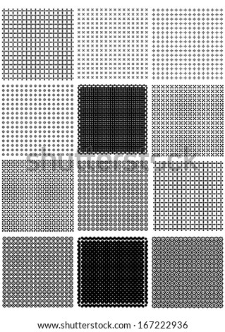 set of black and white vintage wallpapers - stock vector