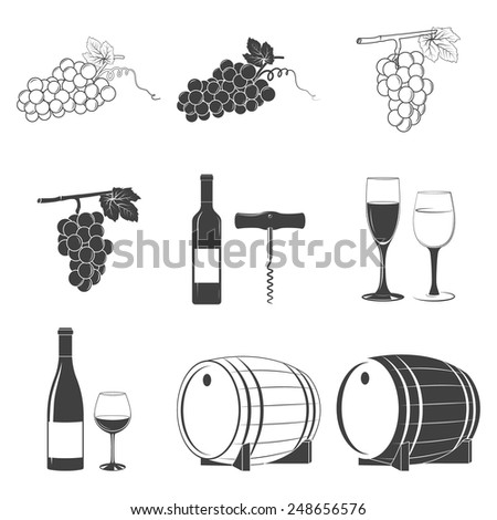Set of black and white wine icons. Design elements. Vector illustration.  - stock vector