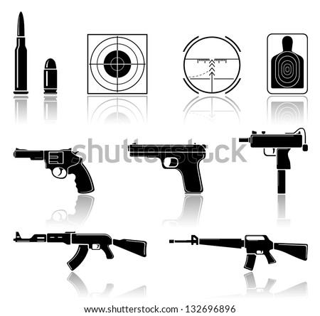 Set of black arms icons on white background, illustration. - stock vector