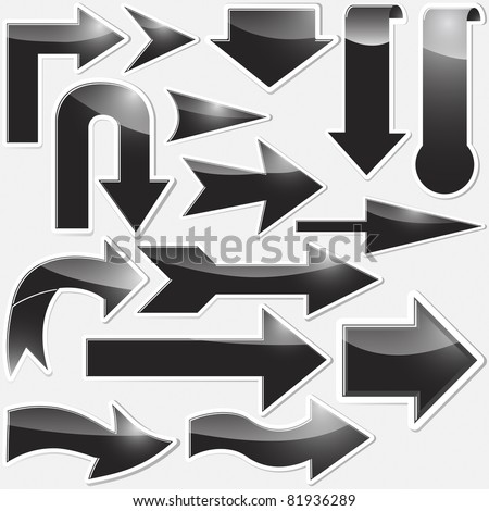 Set of black arrows stickers. Vector 10EPS. - stock vector