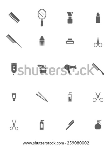 Set of Black Barber Shop Icons on White Background. Hair salon objects. Hair style objects. - stock vector