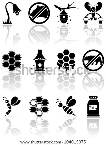 Set of black bee icons, illustration