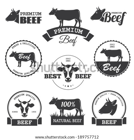 Set of black beef labels in vector - stock vector