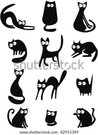 Set of black cat silhouettes - stock vector