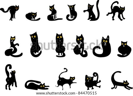 Set of black cats with yellow eyes - stock vector