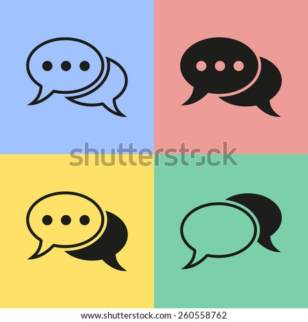 Set of black chat icons. Vector illustration. - stock vector