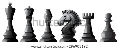 Set of black chess in classic design - stock vector