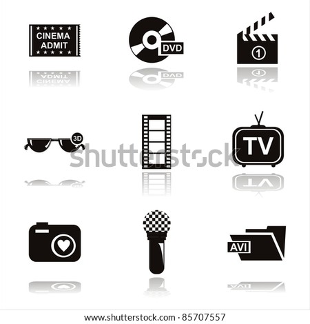 set of 9 black cinema icons - stock vector