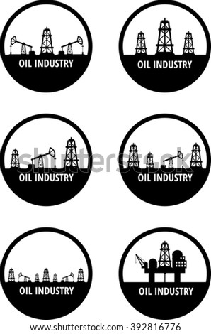 Set of black circle emblem of oil industry. Eps 10 - stock vector