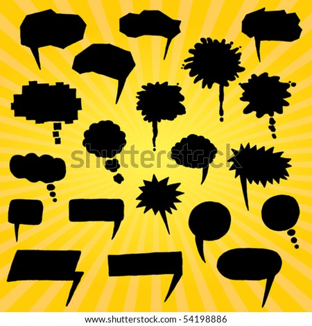 set of black comic bubbles hand drawn - stock vector