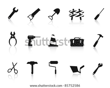 set of black Construction hand tool icon - stock vector