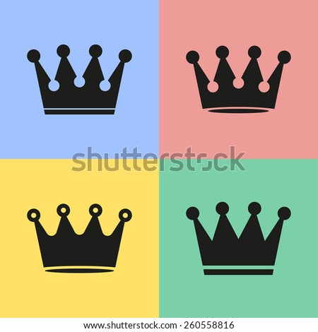 Set of black crown icons. Vector illustration.