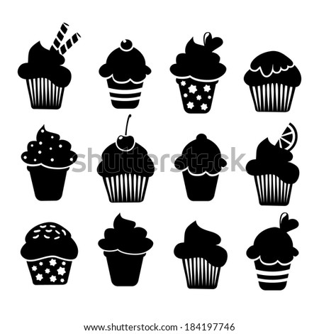 Set of black cupcakes and muffins icons, vector illustrations isolated on white background - stock vector