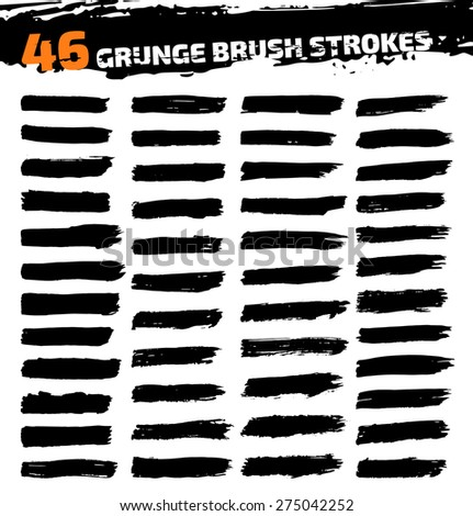 Set of black different grunge brush strokes. Vector illustration - stock vector