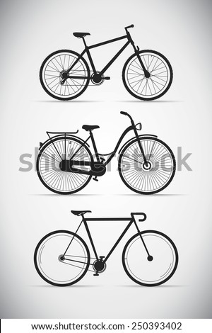 set of black different silhouette bikes - stock vector