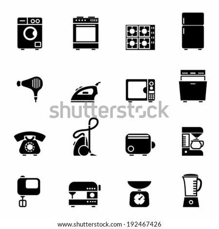 Set of black domestic appliances icons vector illustration design elements - stock vector