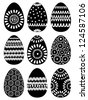 Set of Black Easter Eggs with Patterns on White Background, Vector Version - stock vector