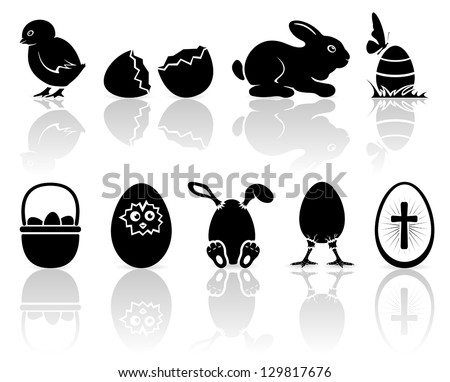 Set of black Easter icons on white background, illustration. - stock vector