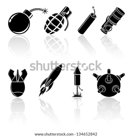 Set of black explosive icons, illustration. - stock vector