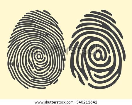 set of black fingerprint with email sign. Vector fingerprint illustration. Security identification fingerprint technology or biometric access fingerprint - stock vector