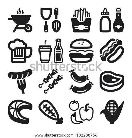 Set of black flat icons about barbecue. - stock vector