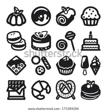 Set of black flat icons about desserts. - stock vector
