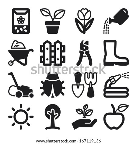 Set of black flat icons about gardening - stock vector