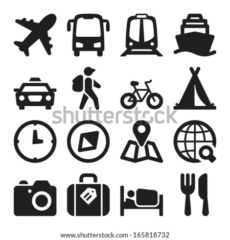 Set of black flat icons about travel - stock vector