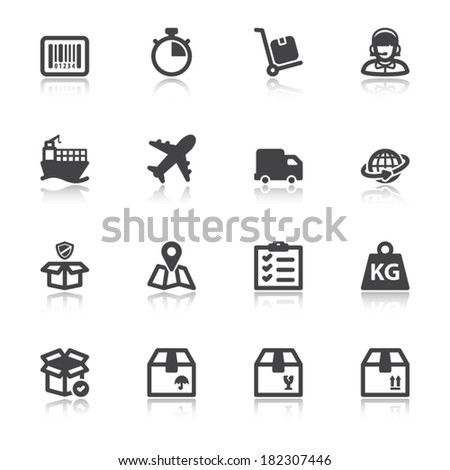Set of black flat icons with reflection about shipping