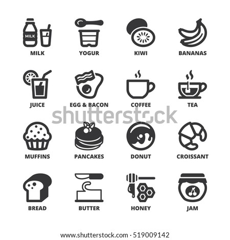 Set of black flat symbols about breakfast.