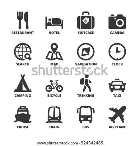 Set Black Flat Symbols About Travel Stock Vector 524342485